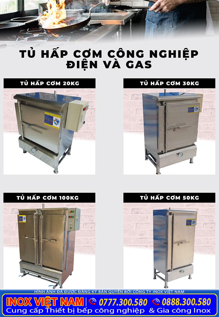 Tủ cơm công nghiệp, tủ hấp cơm bằng điện và gas, tủ nấu cơm