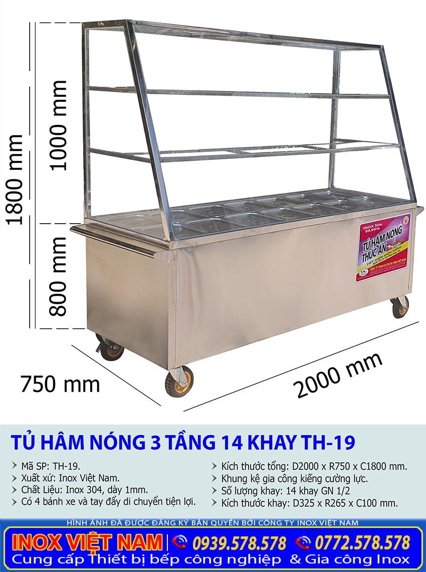 Kích thước tổng thể về tủ giữ nóng thức ăn 14 khay 3 tầng TH-19.