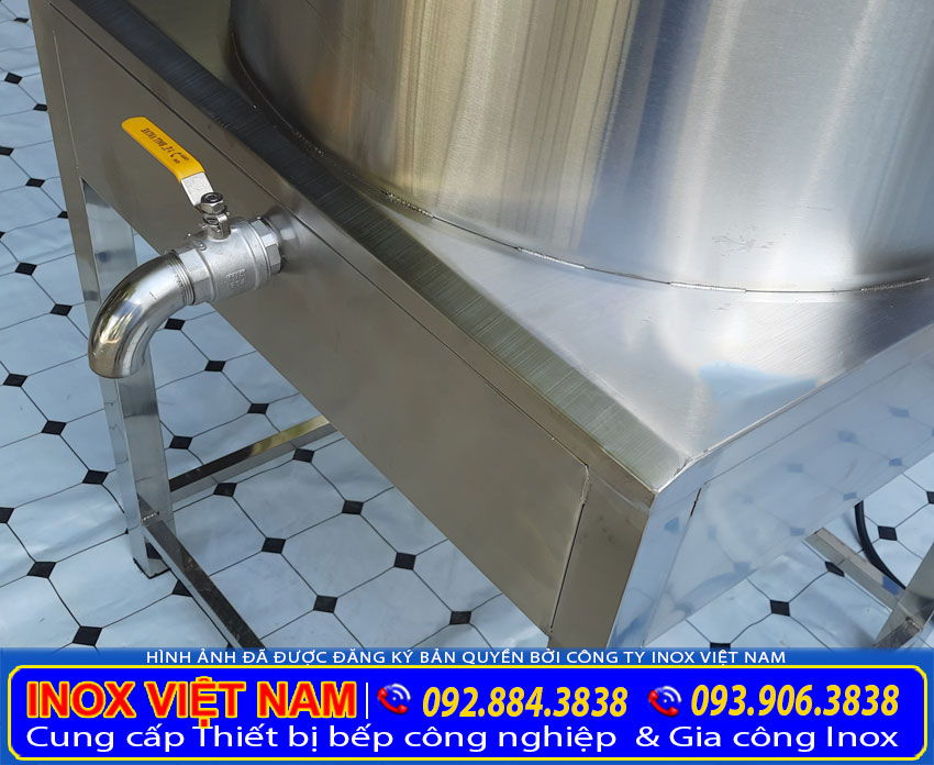 Hệ thống xả nước thiết kế bên dưới đáy nồi