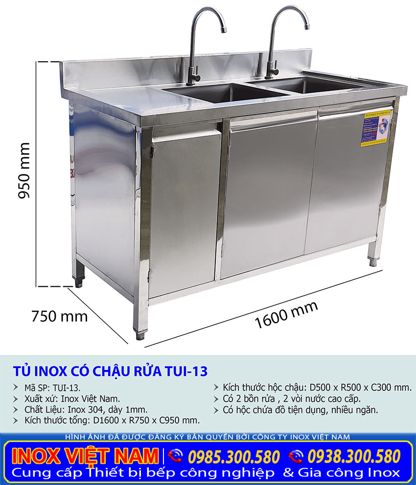 Kích thước tổng thể của tủ đựng chén bát inox có bồn rửa TUI-13