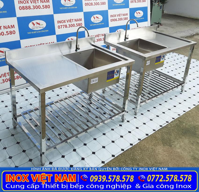 Bộ đôi bồn rửa chén inox có khung chân sản xuất Inox Việt Nam.