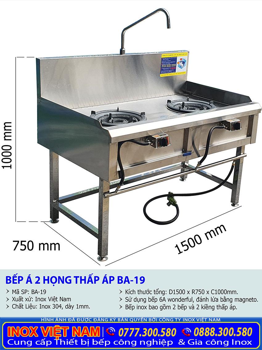 Kích thước tổng thể của bếp công nghiệp 2 họng có vòi nươc sử dụng gas BA-19