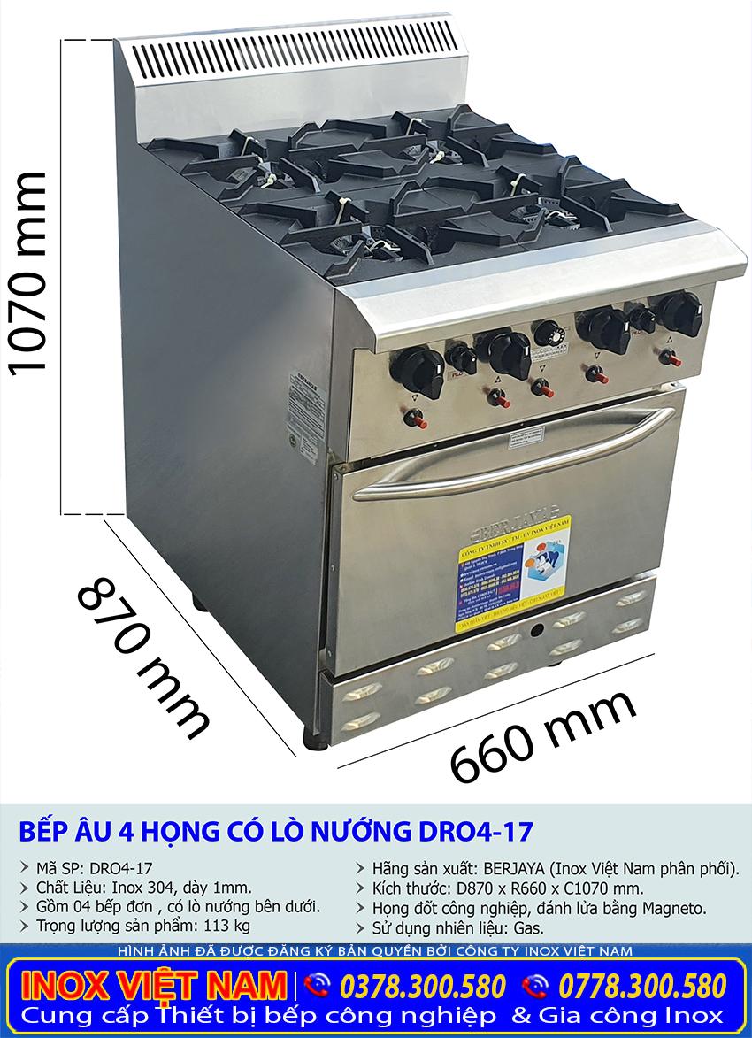 Kích thước tổng thể của bếp âu công nghiệp, bếp âu 4 họng đốt có lò nướng DR04-17