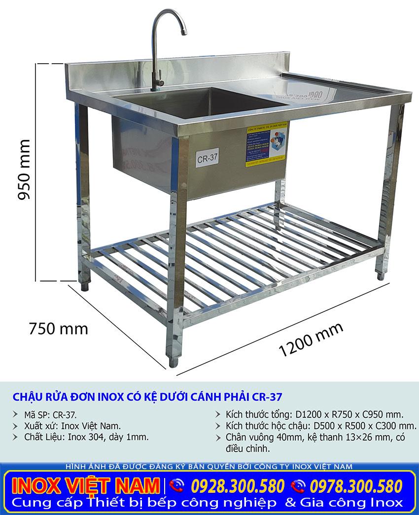 Kích thước bồn rửa chén bát inox có khung chân và bàn rửa CR-37