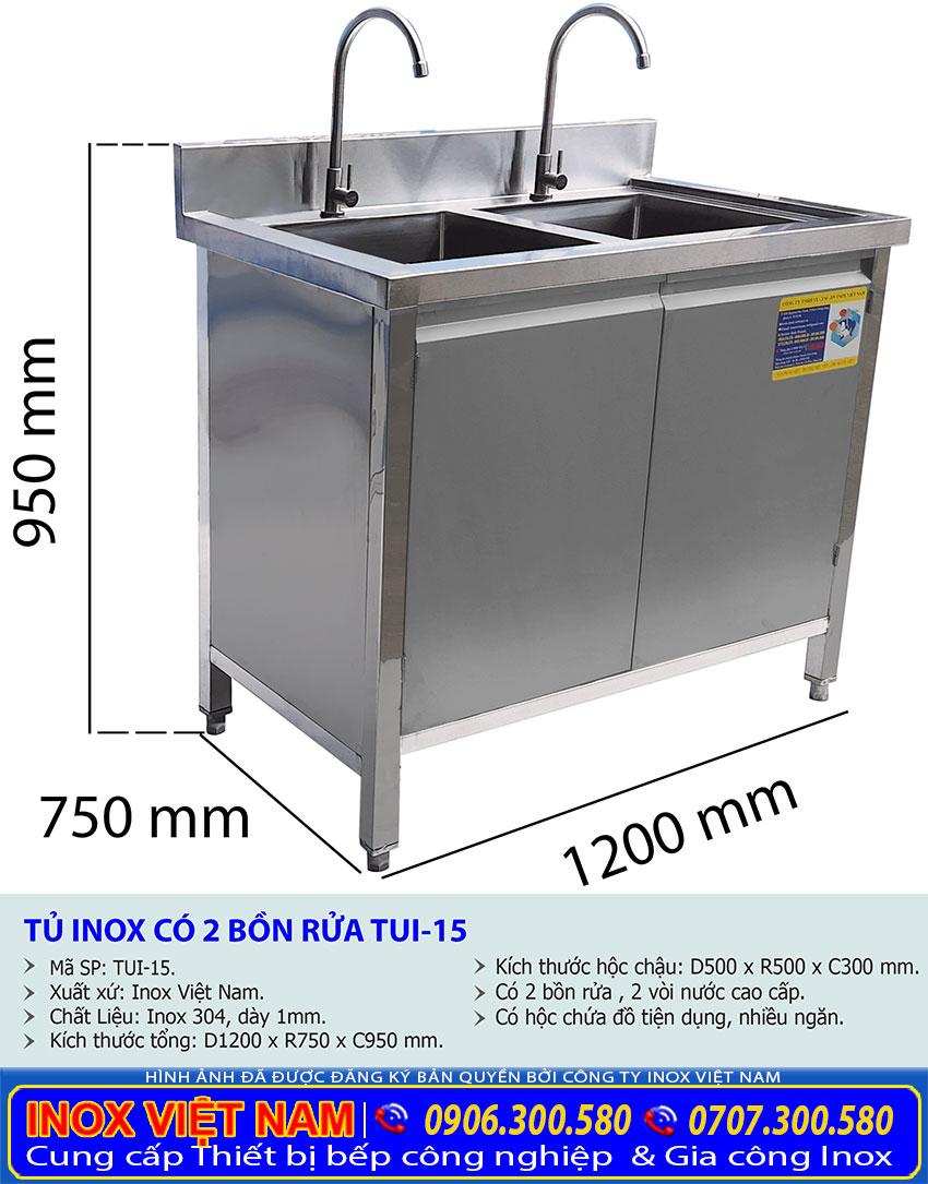 Kích thước của tủ đựng chén bát inox có bồn rửa TUI-15