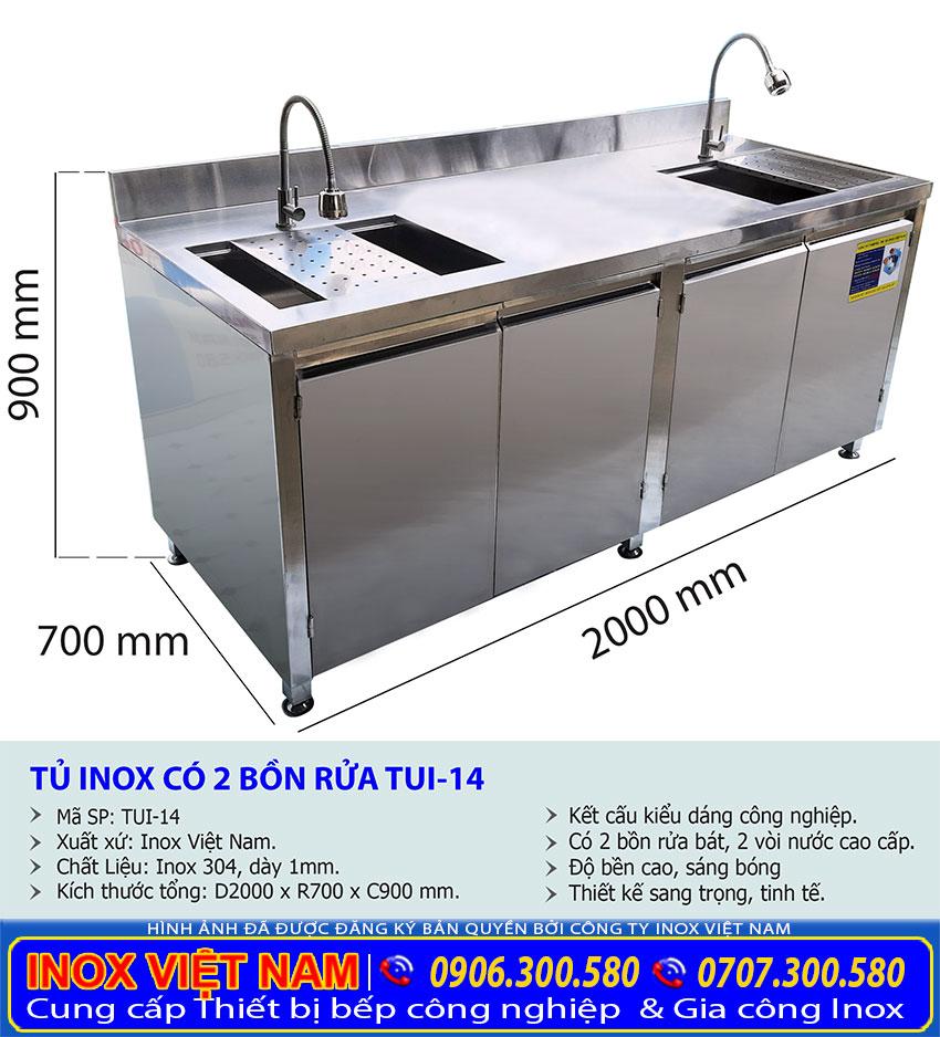 Kích thước tổng thể của tủ đựng chén ly inox tích hợp 2 bồn rửa và khay úp ly cao cấp