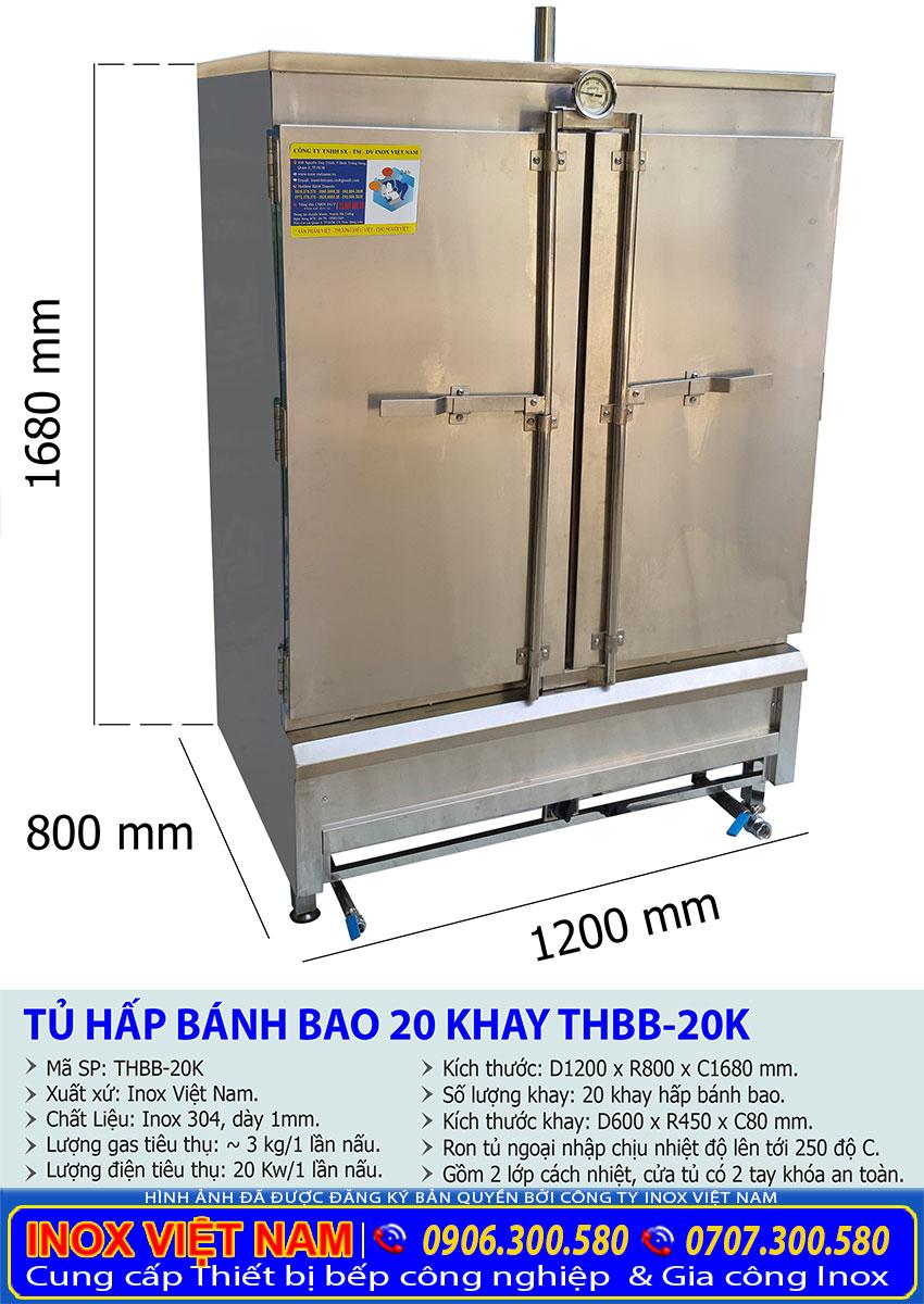 Kích thước tủ hấp bánh bao 20 khay công nghiệp sử dụng điện và gas THBB-20K