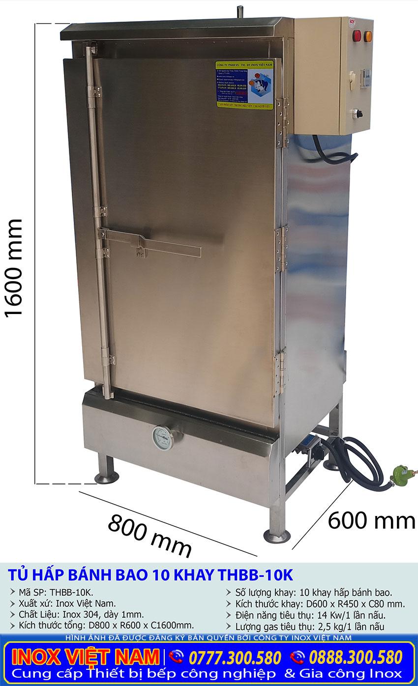 Kích thước tổng thể của tủ hấp bánh bao công nghiệp 16 khay sử dụng điện và gas