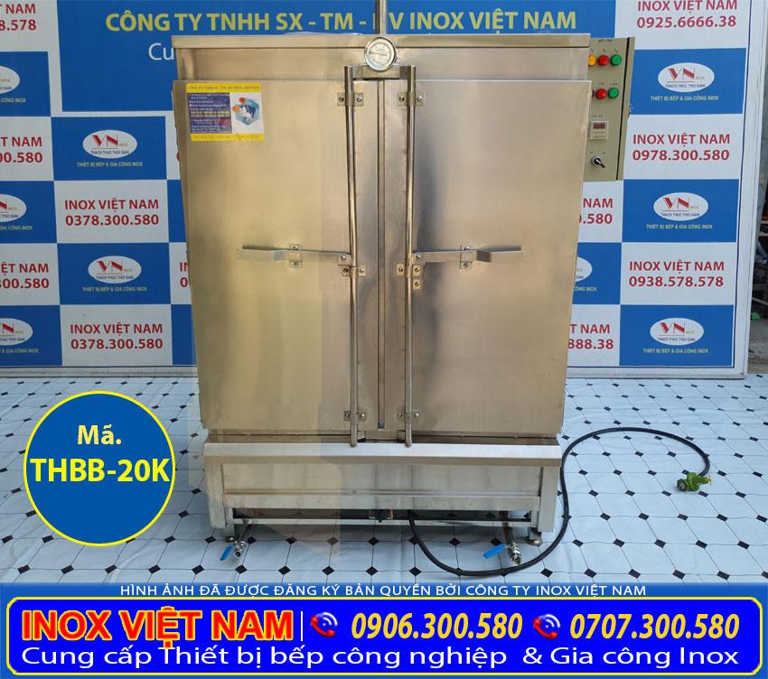 Mẫu tủ hấp bánh bao 20 khay công nghiệp sử dụng điện và gas sản xuất Bếp Inox Việt Nam.