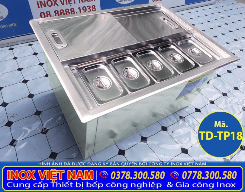 Mẫu thùng đá inox kèm khay đựng topping sản xuất Bếp Inox Việt Nam