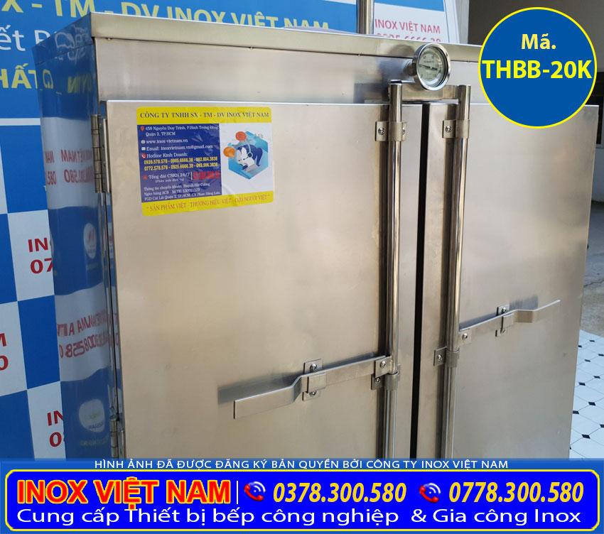 Tủ hấp bánh bao thiết kế bằng inox 304, có độ bền cao, chịu nhiệt tốt