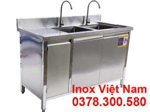 Mẫu tủ inox, tủ đựng chén bát inox có bồn rửa sản xuất Bếp Inox Việt Nam.