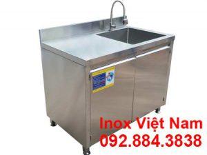 Mẫu tủ bếp inox, tủ đựng chén bát inox có bồn rửa