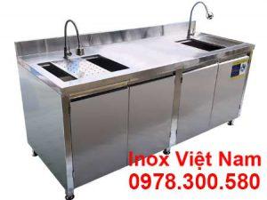 Mẫu tủ đựng chén ly inox, tủ quầy bar inox tích hợp bồn rửa và khay thoát nước inox