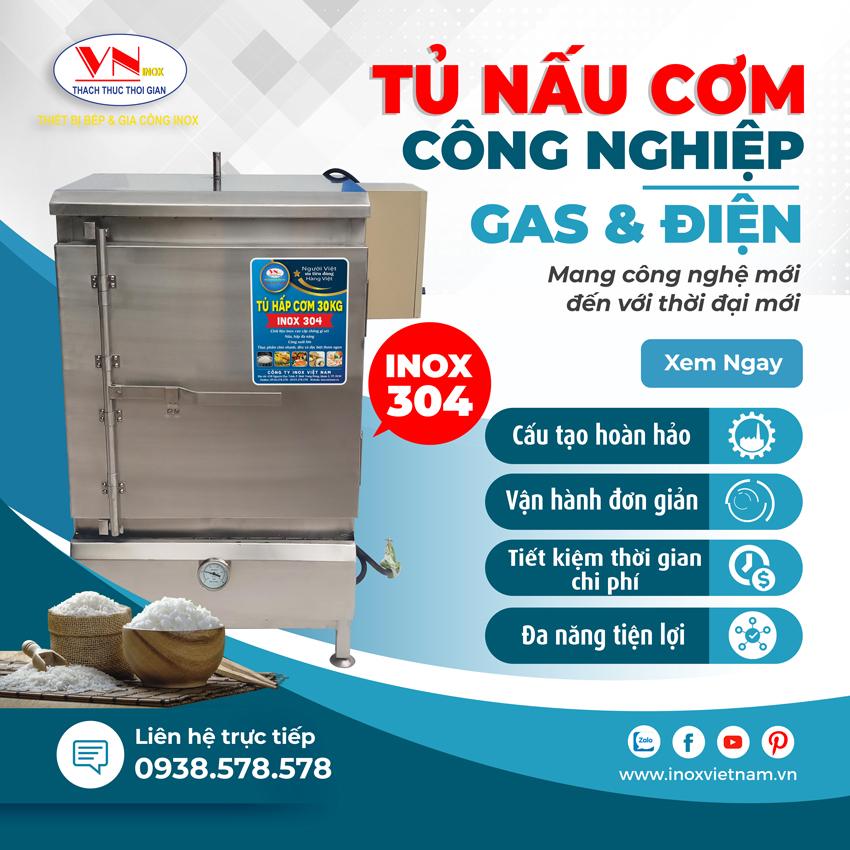 Tủ nấu cơm, tủ hấp cơm công nghiệp thiết kế chắc chắn, an toàn và tiết kiệm nhiên liệu.