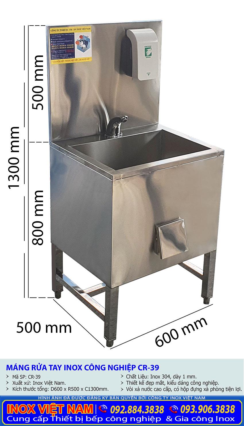 Kích thước tổng thể về bồn rửa tay inox 304 CR-39