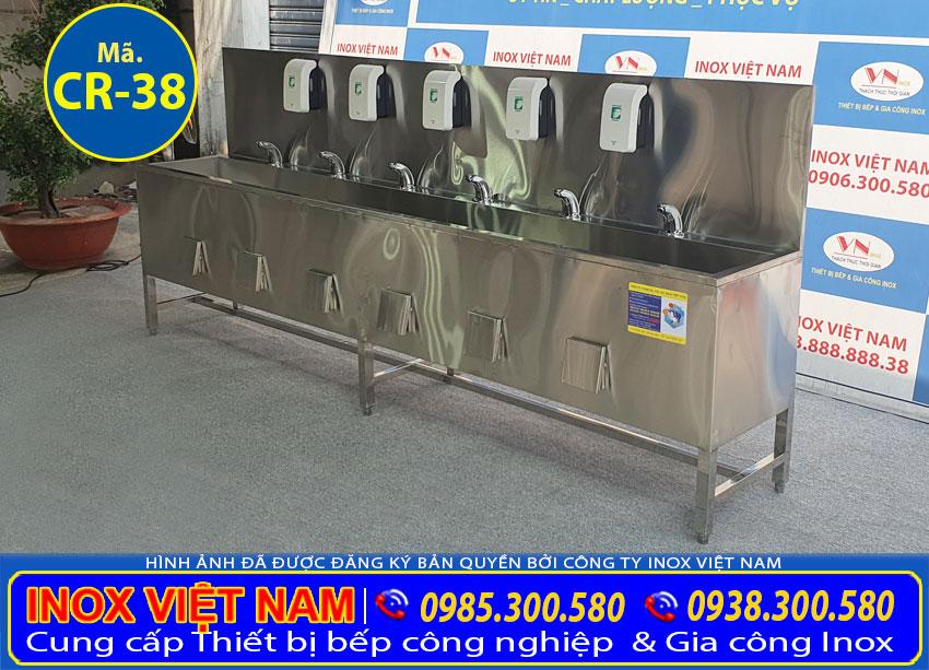 Máng rửa tay công nghiệp inox | Bồn rửa tay công nghiệp inox 3 mét